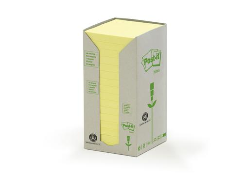 Post-it Note Recycled Tower Pack 76x76mm Pastel Yellow 654-1T [Pack 16]