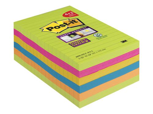Post-it Super Sticky Notes 101x152mm Prom Pack 4 plus 2 Free