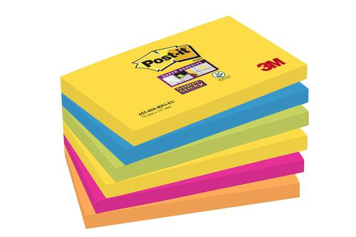 Post-it Super Sticky 76x127mm Rio Assorted 70-0052-5132 PK6