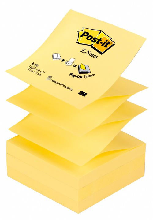 Post-it Z Notes 76x 76mm Canary Yellow Ref R330 [Pack 12]