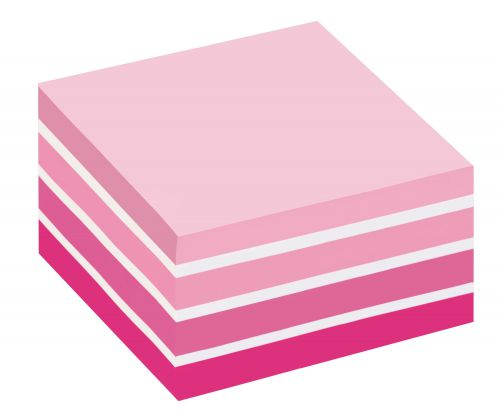 Post-it Note Cube 450 Sheets 76x76mm Pastel Pink/Neon Pink Shades Ref 2028-P