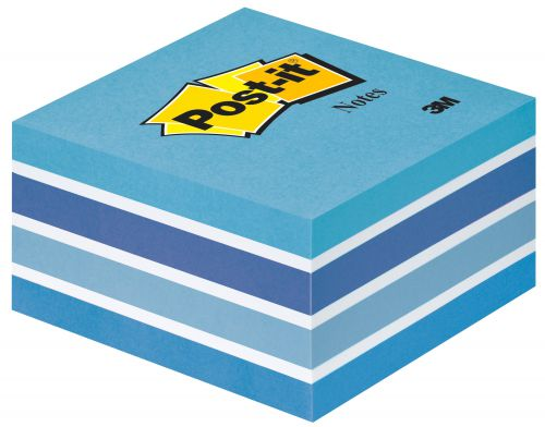 Post-it Note Cube 450 Sheets 76x76mm Pastel Blue/Neon Blue Shades Ref 2028-B