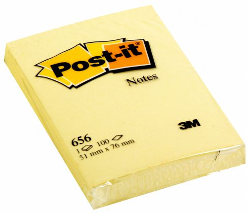 Post-it Notes 51 x 76mm Canary Yellow (Pack of 12) 656Y