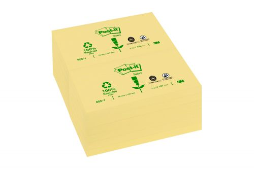 Post-it Notes Recycled 76x127mm Canary Yellow Pack 12