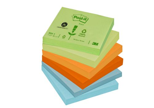 Post-it Notes Recycled 100 Sheets per Pad 76x76mm Pastel Rainbow Ref 6541RP [Pack 12]
