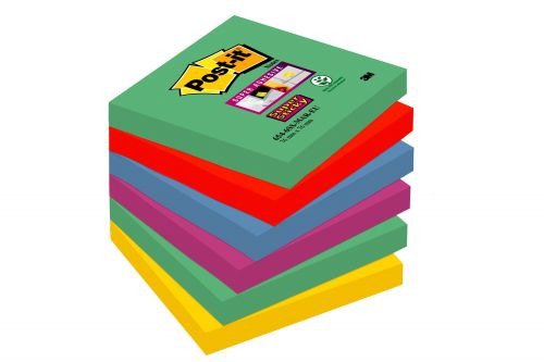 Post-it Super Sticky Removable Notes Pad 90 Sheets 76x76mm Marrakesh Ref 654-6SS-MAR [Pack 6]