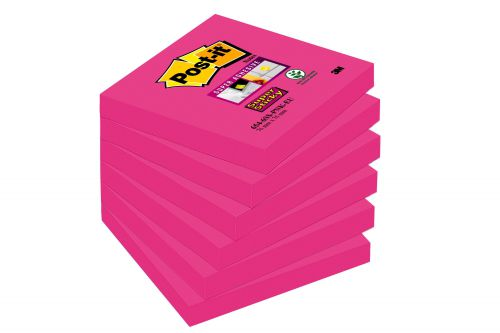 Post-it Notes Super Sticky 76x76mm Fuchsia 90 Sheets (Pack of 6) 654-6SS-PNK-EU