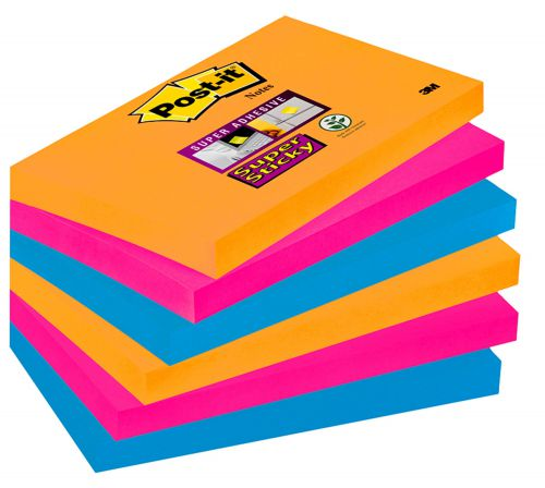 Post-it Notes Super Sticky 76x127mm Bangkok (Pack of 6) 70-0051-9806-7