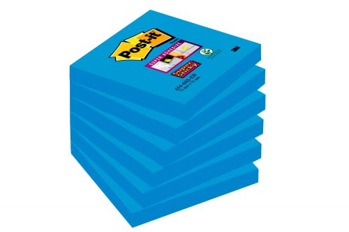 Post-it Super Sticky Notes 76x76mm Medium Blue 654-6SS-EB PK6