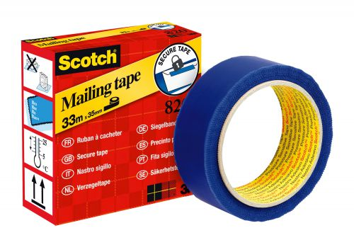 Scotch 820 Secure Tape Anti-Tampering 35mm x 33m Blue