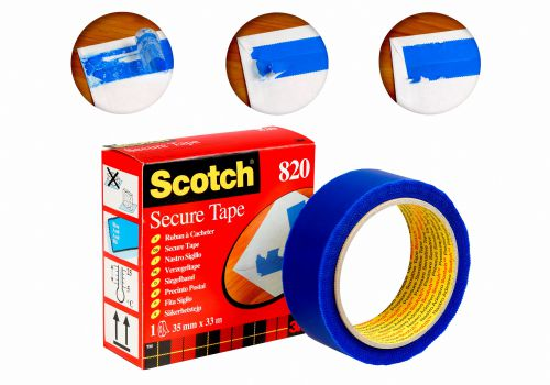Scotch Extra Strong Secure Mailing Tape 35mmx33m Blue 820