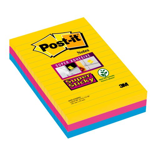 Post-it Super Sticky 101x152mm Lined Rio (Pack of 3) 4690-SS3RIO
