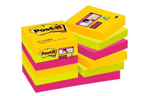 Post-it Super Sticky Notes Rio 51x51mm Ref 622-12SSRIO-EU [Pack 12]