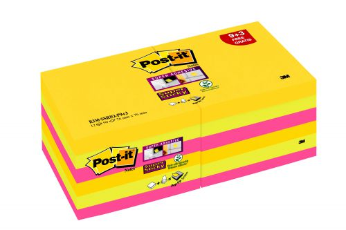Post-it Super Sticky Z-Notes 76x 76mm Rio (Pack of 12) R330-SSRIO-P9+3