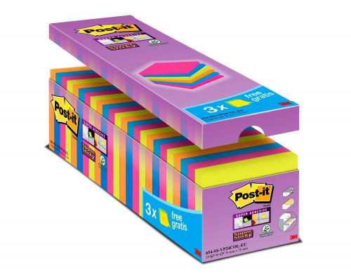 Post-it Notes Super Sticky 76x76mm 90 Sheets Assorted Colours (Pack 24) 654-SS-VP24COL-EU