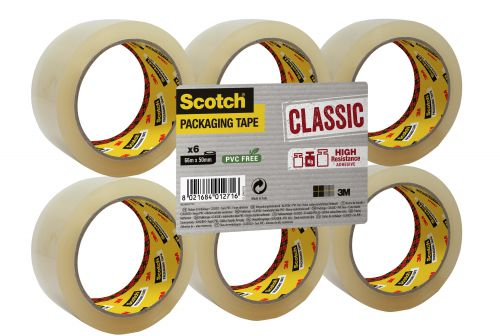 Scotch Clear Packaging Tape Polypropylene 50mmx66m (Pack of 6) C5066SF6