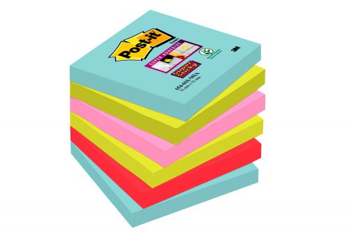 Post-It Super Sticky Notes Miami 76x76mm Aqua Neon Green Pink Poppy Ref 654-6SS-MIA [Pack 6]