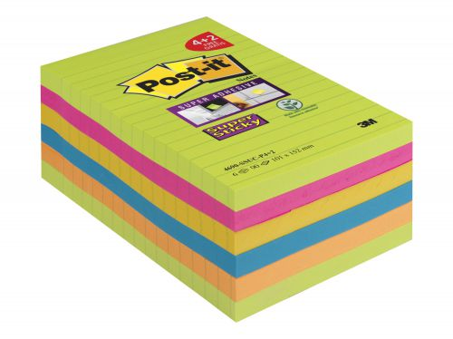 Post-it Super Sticky XXL 101x152 90 Sheets Rainbow Ref 4690-SSUC-P4 [Pack 4 + 2 Free]