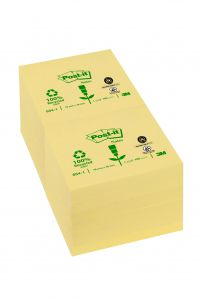 Post-it Recycled Notes Pad of 100 76x76mm Yellow Ref 654-1Y [Pack 12]
