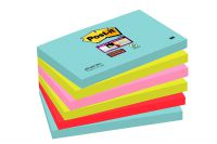 Post-It Super Sticky Notes Miami 76x127mm Aqua Neon Green Pink Poppy Ref 655-6SS-MIA [Pack 6]