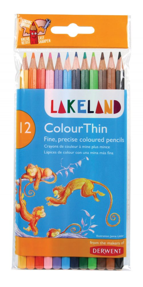 Derwent Lakeland Colourthin Colouring Pencils Hexagonal Barrel Hard-wearing Assorted (Pack of 12)