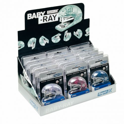 Rapid Fashion Desktop Stapler with Baby-Ray Display - Assorted Colours - Outer carton of 2