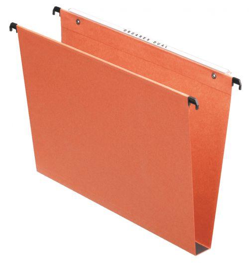 Esselte Orgarex Suspension File Square Base 30mm Capacity Foolscap Orange (Pack 50)