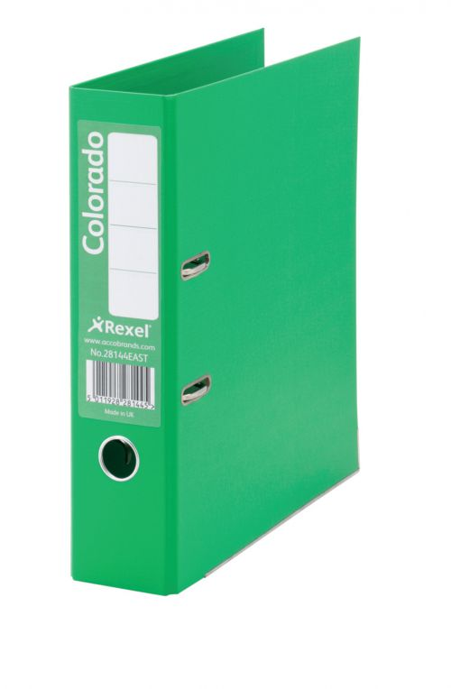 Rexel Colorado Lever Arch File Foolscap 80mm Green PK10