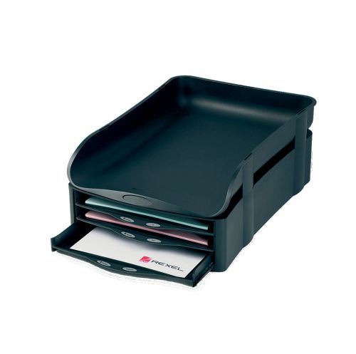 Rexel Agenda2 In-Out Letter Tray Charcoal (Extra wide for A4 and Foolscap papers) 2101016
