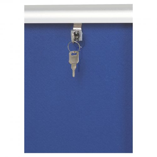 Nobo Internal Display Case A0 Blue Felt 1902049 Glazed Notice Boards NB17686
