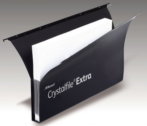 Rexel Crystalfile Extra Secura Foolscap Lateral Suspension File Polypropylene 30mm Black (Pack 20)