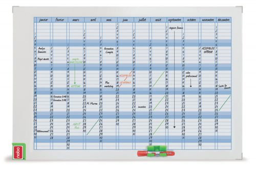 Nobo Performance Planning Board Annual Grid Magnetic Drywipe W900xH600mm