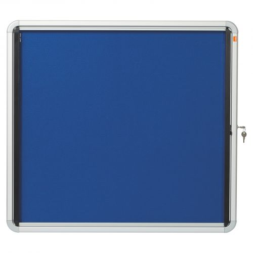 Nobo Noticeboard for Interior Glazed Case Lockable Fabric 6xA4 W692xH752mm Ref 1902555