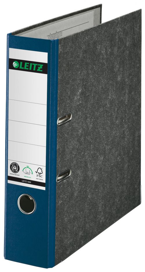 Leitz 180° Lever Arch File Classic Marbled. A4, 80 mm. Blue. - Outer carton of 10