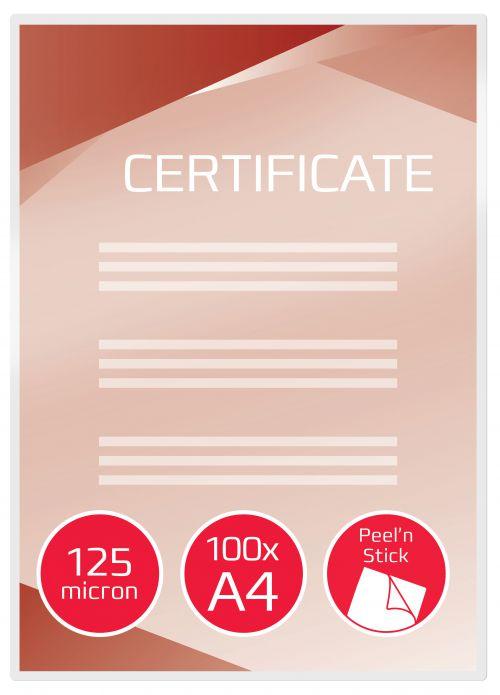GBC Peelnstick Pouch A4 2x125 micron Gloss 3747243 (PK100)