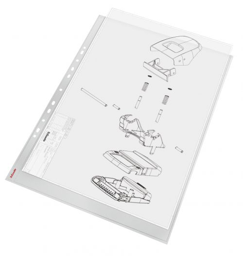 Esselte Heavy Duty Punched Pocket, Transparent, Matte, 85 Micron Polypropylene (Pack 10) - Outer carton of 5