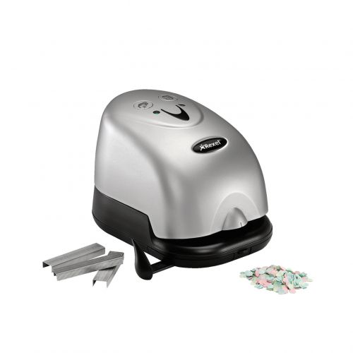Rexel Polaris 1420 Electric Stapler with Hole Punch Function, 20 Sheet Capacity, Silver and Black
