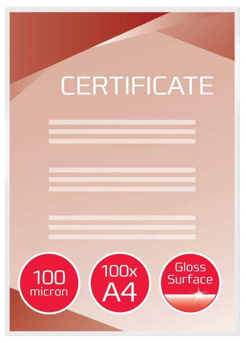 GBC Laminating Pouch A4 2x100 micron 3740306 (PK100)