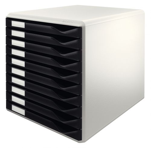 Leitz Desktop Form Set 10 Drawer A4 Grey With Black Drawers
