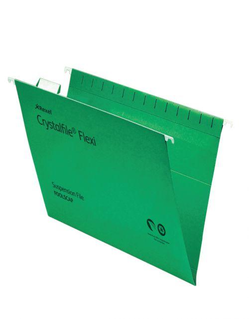 Rexel Crystalfile Flexi Foolscap Suspension File Manilla 15mm V Base Green (Pack 50)