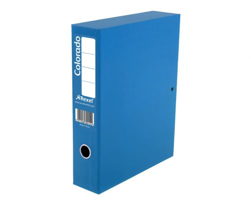 Rexel Colorado Foolscap Lock Spring Box File - Blue (Pack 5)