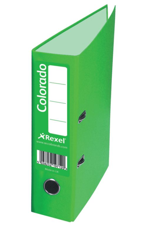 Rexel Colorado Lever Arch File 80mm Spine A4 Green PK10