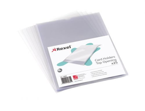 Rexel Clear Card Holder Nyrex Open on Short Edge A4 Ref 12081 [Pack 25]