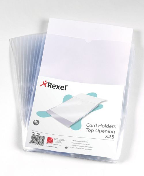 Rexel Clear Card Holder Polypropylene Wipe-clean Top-opening A4 Ref 12092 [Pack 25]