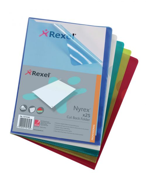 Rexel Nyrex Cut Back Folder A4 Assorted (Pack of 25) PFA4C 12131AS