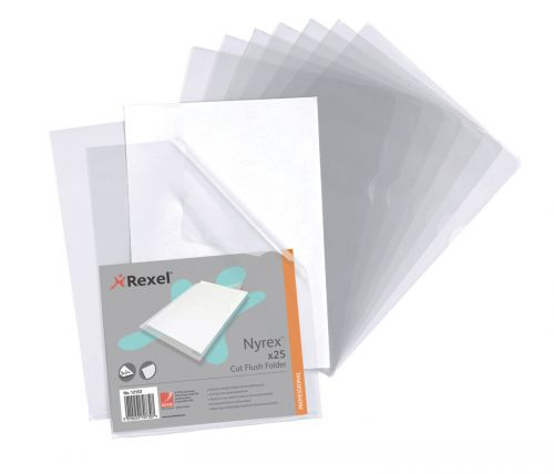 Rexel Nyrex Cut Flush Folder A4 Clear (Pack of 25) 12153