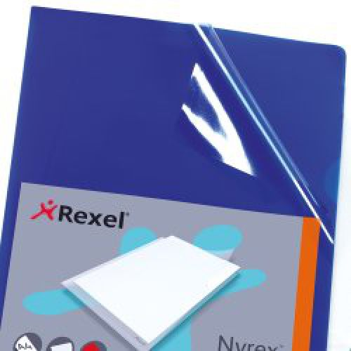 Rexel Nyrex Cut Flush Folder A4 Blue (Pack of 25) 12161BU