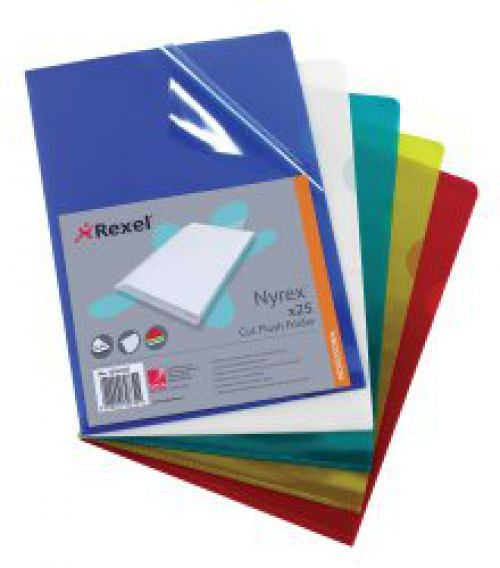 Rexel Nyrex Folder Cut Flush A4 Red  12161RD (PK25)