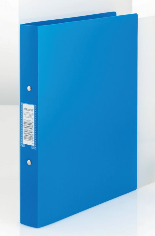 Rexel Budget Ring Binder Polypropylene 2 O-Ring A4 25mm Rings Blue (Pack 10)