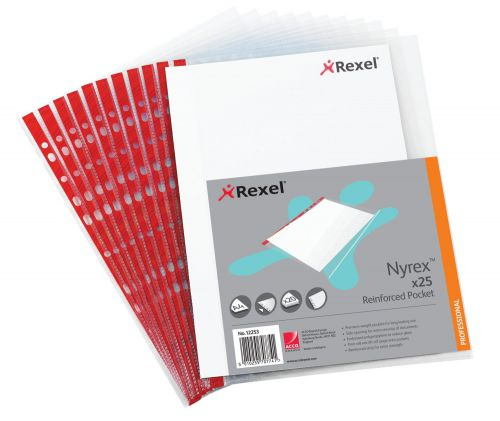 Rexel Quality Pocket A4 Red Spine Left Opening Embossed (Pack of 25) 12253